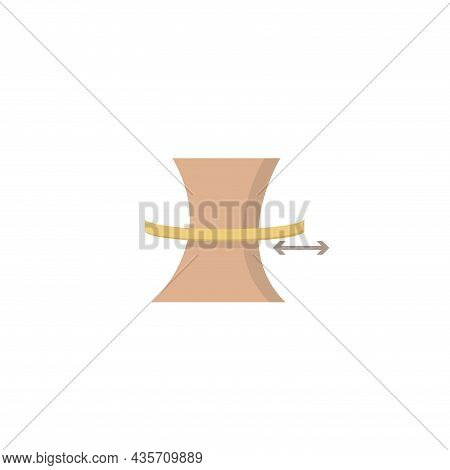 Slimming Belly With Measuring Tape Isolated Illustration. Slimming Belly Flat Icon On White Backgrou