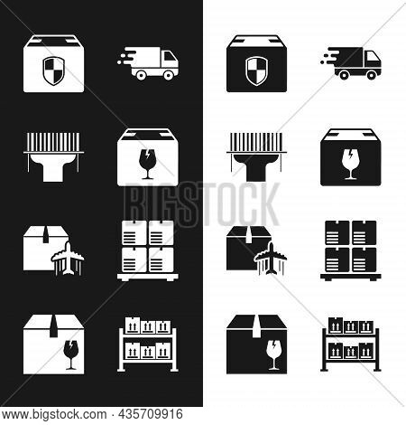 Set Delivery Box With Fragile Content, Scanner Scanning Bar Code, Security Shield, Truck Movement, P