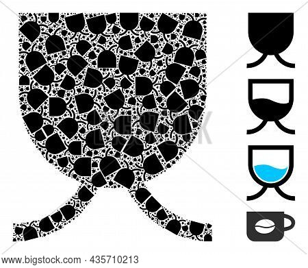 Vector Full Mug Fractal Is Done With Scattered Fractal Full Mug Pictograms. Fractal Collage Of Full