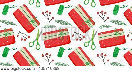 Christmas Seamless Pattern. Preparations For Christmas And New Year. Spruce Twig, Scissors, Berries,