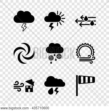 Set Storm, Wind And Rain, Tornado Swirl, Cloud With Lightning, Cone Windsock Wind Vane, And Snow Ico