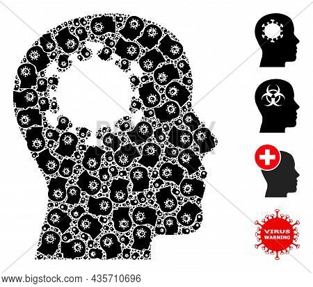 Vector Brain Infection Collage Is Made Of Scattered Recursive Brain Infection Icons. Fractal Collage