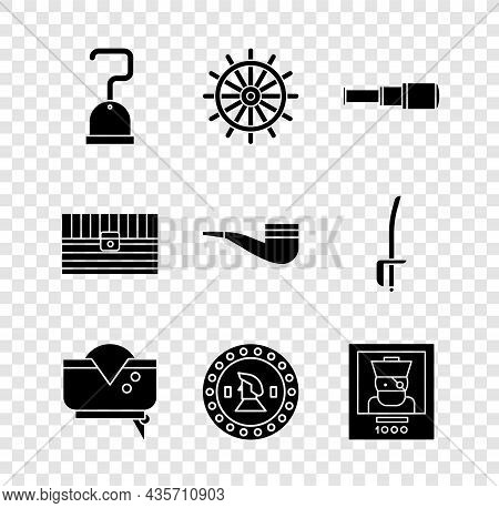 Set Pirate Hook, Ship Steering Wheel, Spyglass Telescope Lens, Hat, Coin, Wanted Poster Pirate, Anti
