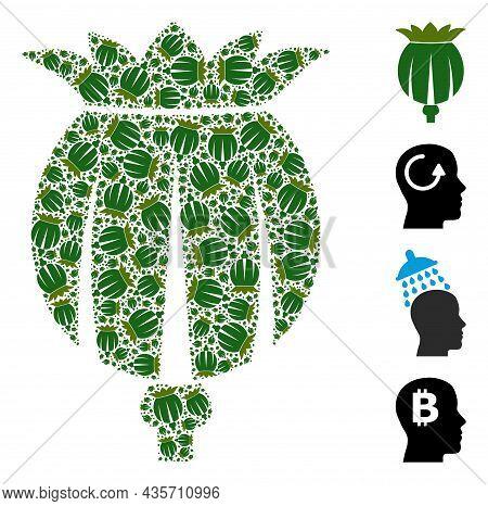 Vector Opium Poppy Head Collage Is Created From Repeating Recursive Opium Poppy Head Items. Recursiv
