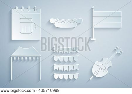 Set Carnival Garland With Flags, National Germany, Camping Tent, Violin, Hotdog Sandwich And Saint P