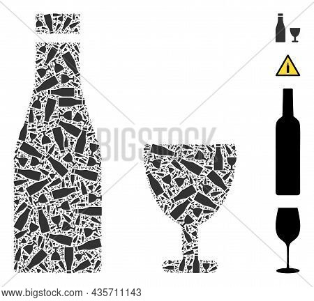 Vector Alcohol Drinks Fractal Is Organized Of Scattered Itself Alcohol Drinks Elements. Fractal Coll