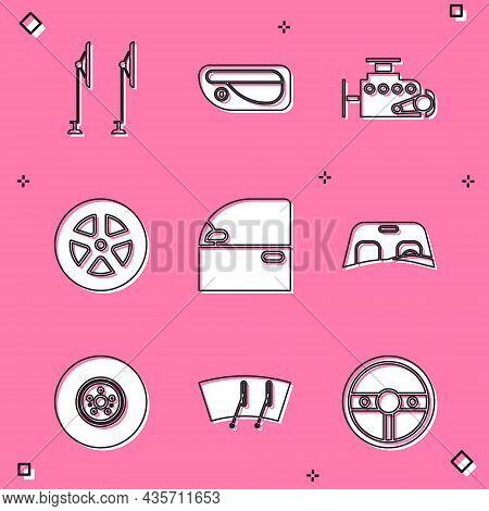 Set Windscreen Wiper, Car Door Handle, Engine, Wheel, Windscreen, Brake Disk And Icon. Vector