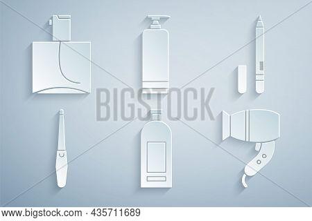 Set Bottle Of Shampoo, Eyeliner, Eyebrow, Nail File, Hair Dryer, Cream Cosmetic Tube And Perfume Ico