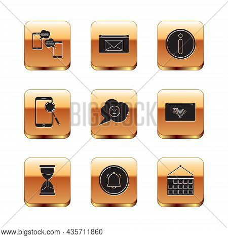 Set Chat Messages On Mobile, Hourglass, Button Chat Notification, Speech Bubble With Angry Smile, Mo