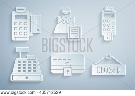 Set Credit Card With Lock, Pos Terminal Credit, Cash Register Machine, Hanging Sign Closed, Delivery