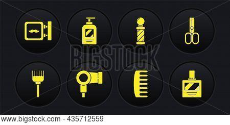 Set Hairbrush, Scissors Hairdresser, Dryer, Classic Barber Shop Pole, Bottle Of Shampoo, Aftershave