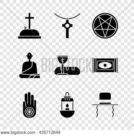 Set Tombstone With Cross, Christian Chain, Pentagram Circle, Jainism Or Jain Dharma, Ramadan Kareem