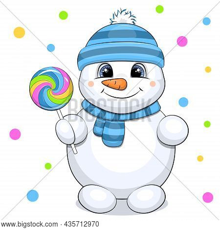 A Cute Cartoon Snowman In A Blue Hat And Scarf Holding A Lollipop. Vector Illustration On White Back