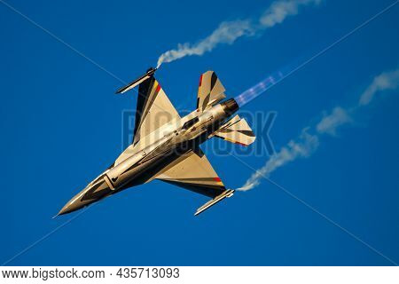 Radom, Poland - August 25, 2013: Military Fighter Jet Plane At Air Base. Air Force Flight Operation.