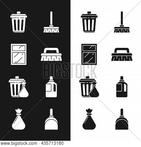 Set Brush For Cleaning, Cleaning Service Windows, Trash Can, Handle Broom, Garbage Bag, Fabric Softe