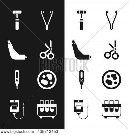 Set Medical Scissors, Inhaler, Neurology Reflex Hammer, Tweezers, Digital Thermometer, Petri Dish Wi