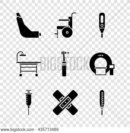 Set Inhaler, Wheelchair For Disabled Person, Medical Digital Thermometer, Syringe, Crossed Bandage P