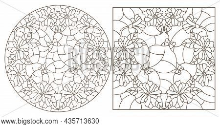 A Set Of Contour Illustrations In The Style Of Stained Glass With Flower Wreaths And Butterflies, Da