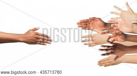 Hand Of Millennial African American Man Reaches Out Many Arms Of Diverse People To Help
