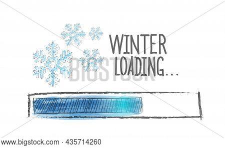 Winter Loading. Winter Load Progress Indicator. Vector Illustration Drawn By Hand. Flat Style.