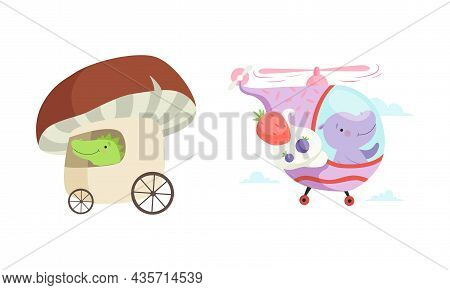 Cute Crocodile On Mushroom Car And Hippo Flying In Helicopter With Whipped Cream Vector Set