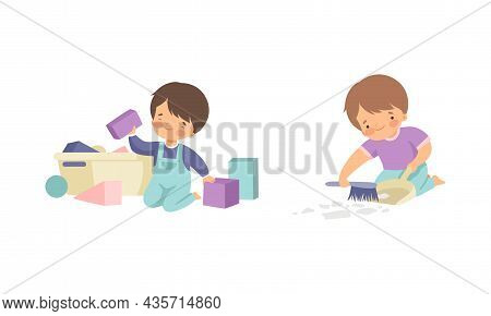 Cute Boy Doing Housework And Housekeeping Picking Up Toys And Sweeping Floor Vector Set