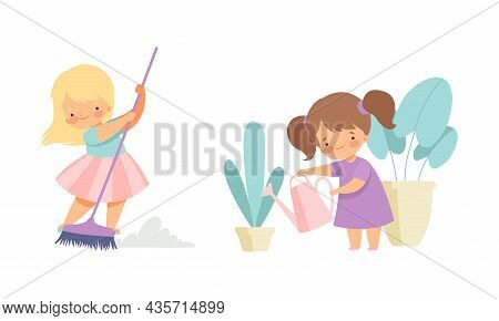 Cute Girl Doing Housework And Housekeeping Sweeping The Floor With Broom And Watering Houseplant Vec