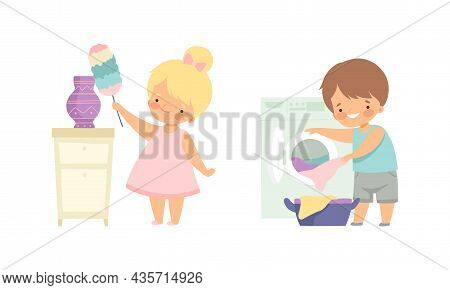 Cute Boy And Girl Doing Housework And Housekeeping Dusting Shelf And Doing Laundry Vector Set