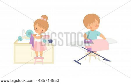 Cute Boy And Girl Doing Housework And Housekeeping Ironing Clothing And Washing The Dishes Standing