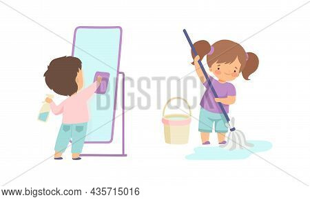 Cute Boy And Girl Doing Housework And Housekeeping Wiping The Mirror And Mopping The Floor Vector Se