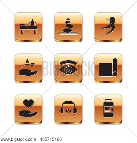 Set Massage Table With Oil, Heart In Hand, Headphones For Meditation, Hypnosis, Leaf, Ginger Root, C