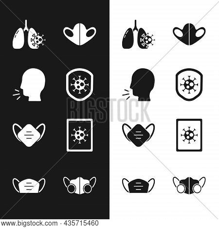 Set Shield Protecting From Virus, Man Coughing, Virus Cells Lung, Medical Protective Mask, Statistic