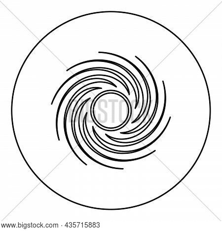 Black Hole Spiral Shape Vortex Portal Icon In Circle Round Black Color Vector Illustration Solid Out