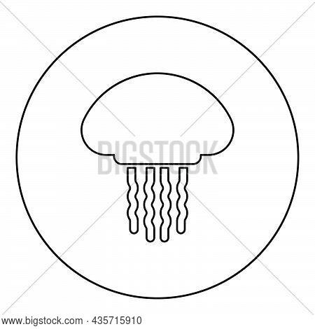 Jellyfish Medusa Marine Animal Underwater Icon In Circle Round Black Color Vector Illustration Solid