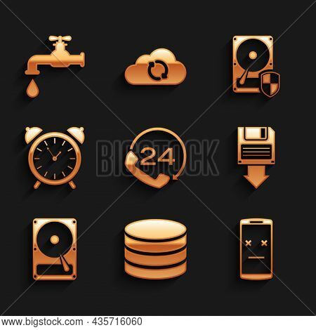 Set Telephone 24 Hours Support, Database, Dead Mobile, Floppy Disk Backup, Hard Drive Hdd And Alarm
