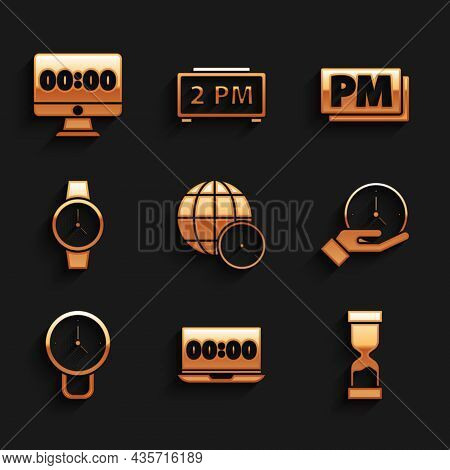 Set World Time, Clock On Laptop, Old Hourglass, Wrist Watch, Pm And Monitor Icon. Vector