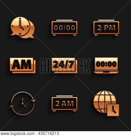 Set Clock 24 Hours, Digital Alarm Clock, World Time, On Laptop, Am, And Speech Bubble Icon. Vector