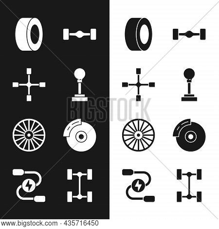 Set Gear Shifter, Wheel Wrench, Car Tire, Chassis Car, Alloy Wheel, Brake Disk With Caliper, And Bat