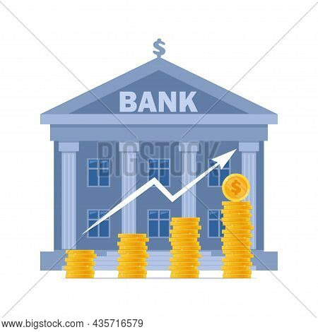 Bank Building And Money, Bank Financing, Money Exchange, Financial Services. Financial Growth, Savin