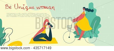 Concept Of Women Unique Background. Vector Illustration Card With Happy Female Woman And Hand Drawin