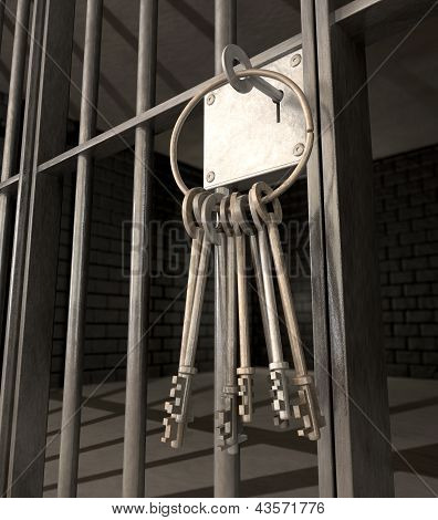 Jail Cell With Closed Door And Bunch Of Keys