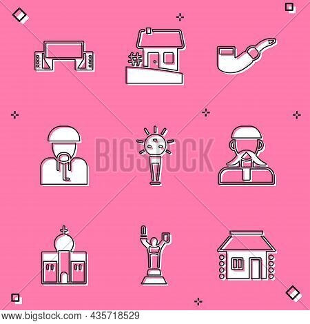 Set Embroidered Towel, Ukrainian House, Smoking Pipe, Cossack, Mace, Church Building And Mother Moth
