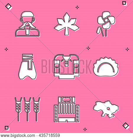 Set Ukrainian Cossack, Chestnut Leaf, Poppy Flower, Cossack Pants, Embroidered Shirt, Dumplings, Whe