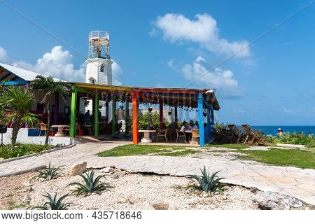 Isla Mujeres, Cancun, Mexico - September 13, 2021: Acantilado Cafe In Punta Sur - Southernmost Point