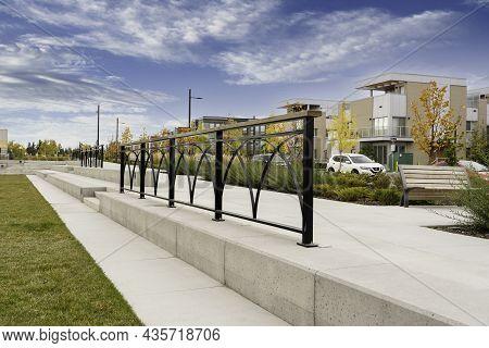 Calgary Alberta Canada, October 1 2021: Community Park With Artistic Metal Railings At The New Unive