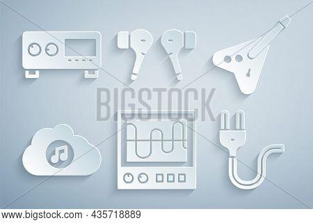 Set Oscilloscope, Electric Bass Guitar, Music Streaming Service, Plug, Air Headphones And Guitar Amp