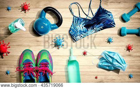 Fitness And Coronavirus Theme With Workout Set - Flat Lay