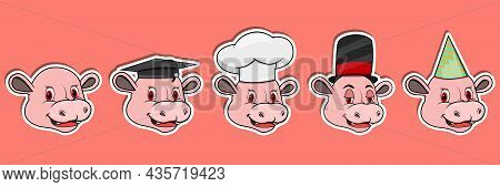Head Hippopotamus Animal Sticker Set. Graduation, Chef, Magician And Party Hat. Perfect For Stickers