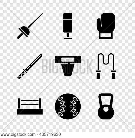 Set Fencing, Punching Bag, Boxing Glove, Ring, Baseball Ball, Kettlebell, Japanese Katana And Groin