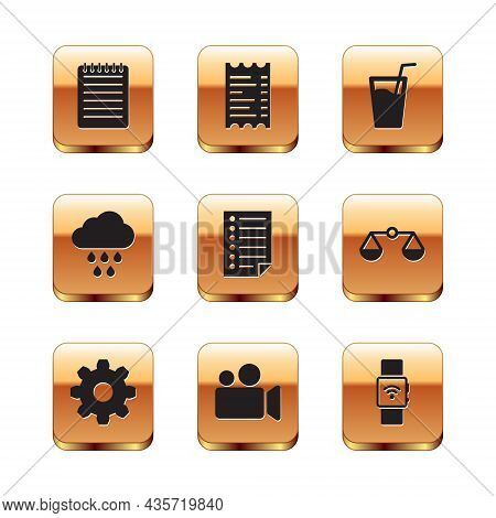 Set Notebook, Cogwheel Gear Settings, Movie Or Video Camera, Document, Cloud With Rain And Glass Wat